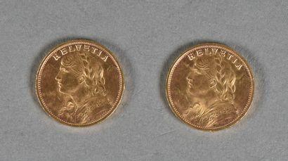 SUISSE  Lot de deux pièces de 20 francs or,...