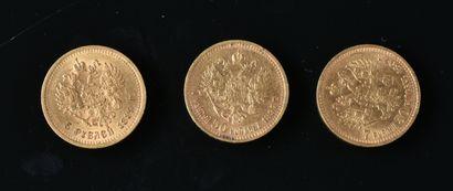 RUSSIE  Lot de trois pièces or comprenant:...