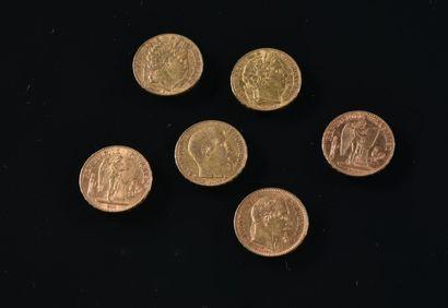 FRANCE  Lot de six pièces de 20 francs or...