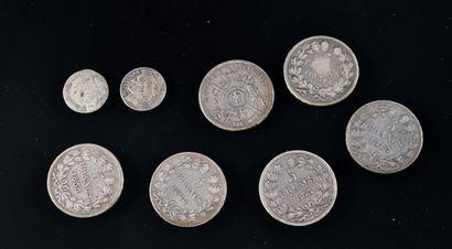 FRANCE  Lot de huit pièces en argent comprenant:...