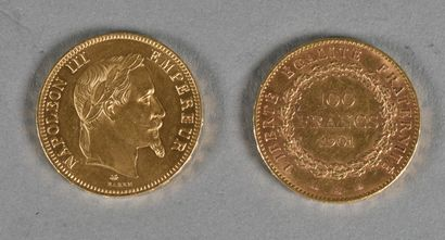 FRANCE  Lot de deux pièces de 100 francs...