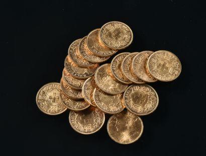 SUISSE  Lot de dix-neuf pièces de 20 francs...
