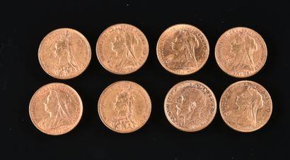 ANGLETERRE  Lot de huit souverains en or,...