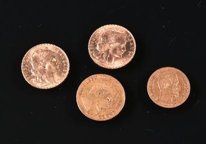 FRANCE  Lot de quatre pièces d'or:  - une...