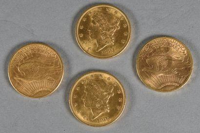 ETATS-UNIS  Quatre pièces de 20 dollars or...
