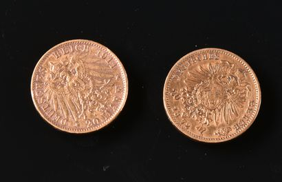 ALLEMAGNE  Lot de deux pièces de 20 Reichmarks...