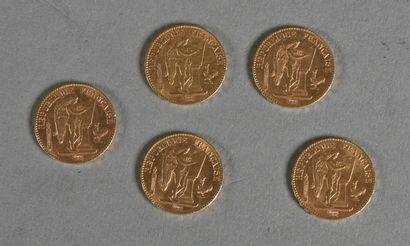 FRANCE  Lot de cinq pièces de 20 francs or,...