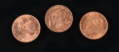 FRANCE & ITALIE  Lot de trois pièces en or...