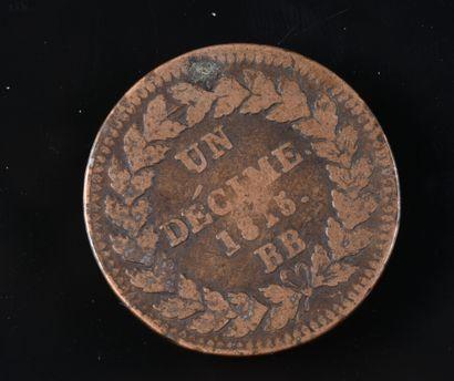 Louis XVIII, 1 décime en bronze, 1815 BB,...