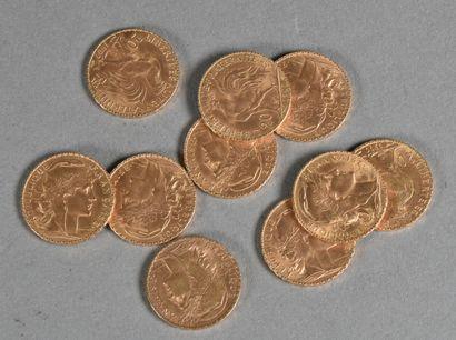 FRANCE  Lot de dix pièces de 20 francs or,...
