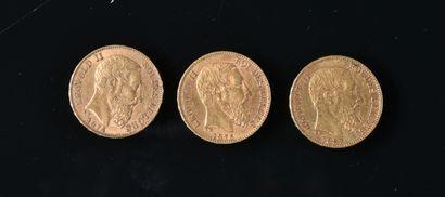 BELGIQUE  Lot de trois pièces de 20 francs...