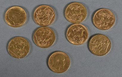 ANGLETERRE  Lot de neuf souverains or comprenant:...