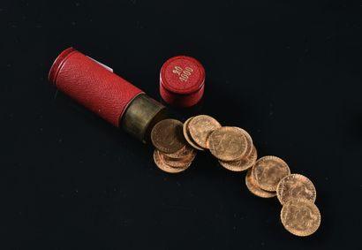 FRANCE  Lot de seize pièces de 20 francs...