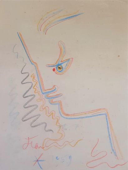 Jean COCTEAU (1889-1963)  Profil, 1959  Dessin...