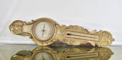 Baromètre thermomètre en bois sculpté et...