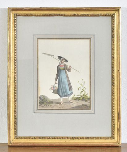 Trois gravures suisse : costumes du Tessin,...