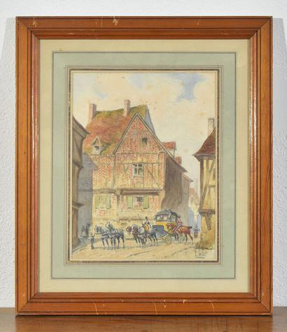 Louis VALLET (1856-1940)  La calèche  H. 24 cm - L. 18 cm à vue  Aquarelle, signée...