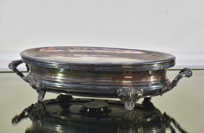 Chauffe-plat en métal argenté en trois parties,...