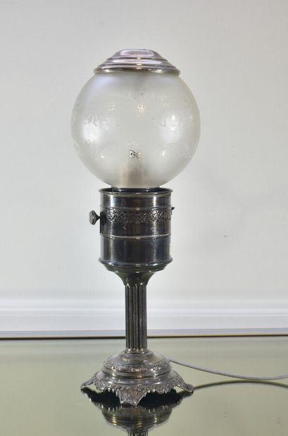 Lampe de bureau en métal argenté, à globe...