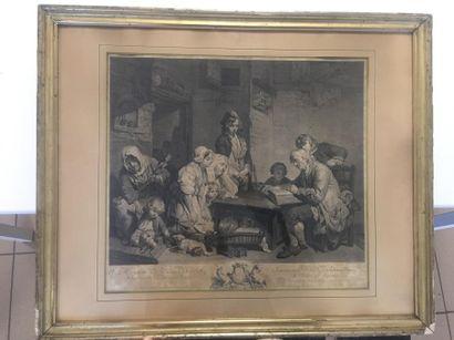 D'après J. B GREUZE  Gravure, tirage du XIXe...