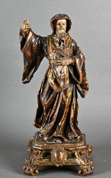 Importante statue représentant un frère prêcheur,...
