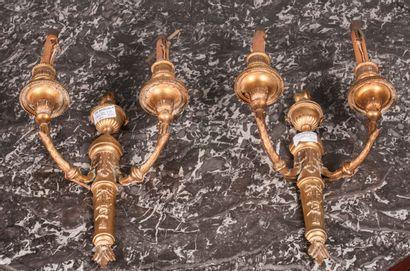 Paire d'appliques en bronze doré à deux bras...