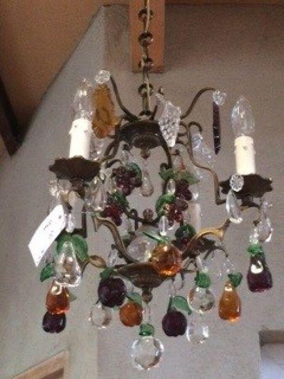 Lustre à pampilles à quatre branches de lumière...