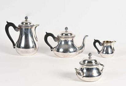 Service à thé et café en argent uni à fond...