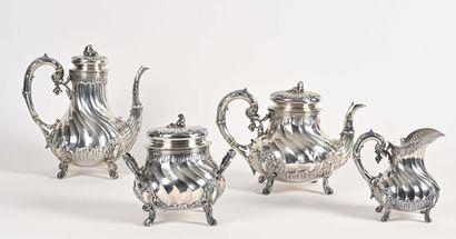 Important service à thé et café en argent,...