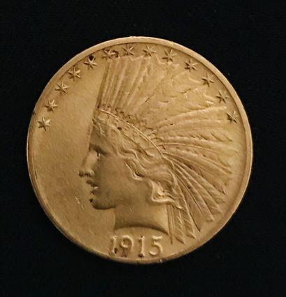 Pièce en or de 10 dollars à la tête d'indien,...