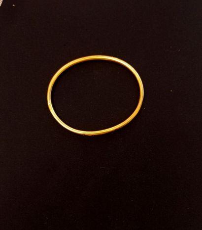 BRACELET jonc creux en or jaune 750 millièmes...