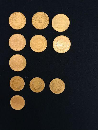 FRANCE  Sept pièces de 20 francs or, 1898,...