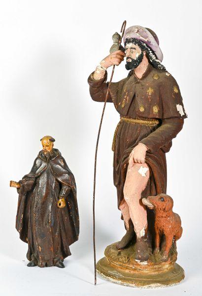 Moine franciscain en bois sculpté et laqué
