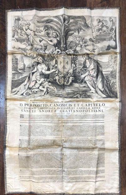 Placard de thèse imprimé sur soie , Naples,...