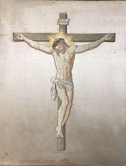 Le Christ en croix, lampas, fin du XIXe siècle,...