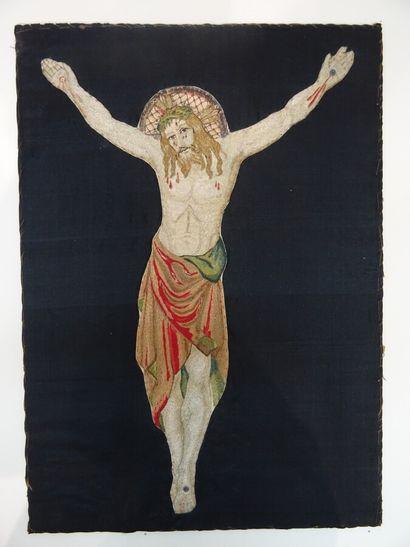 Christ à l'agonie, broderie, XIXe siècle,...