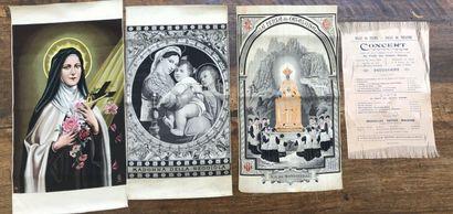 Trois tableaux tissés à sujets religieux,...