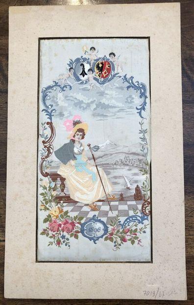 Tableau tissé daté 1896, Suisse, tissage...