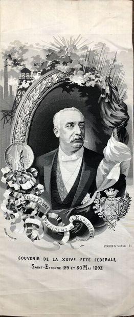 Portrait de Félix Faure, tissage soie en...