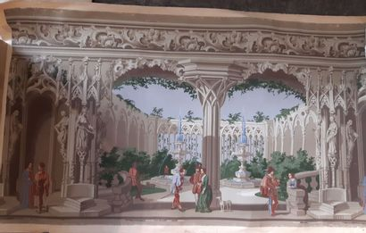 Frise de papier peint, vers 1830-1840, impression...