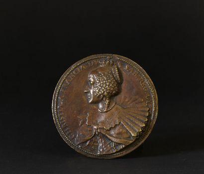 Moulage en bronze d'une médaille de Christine...