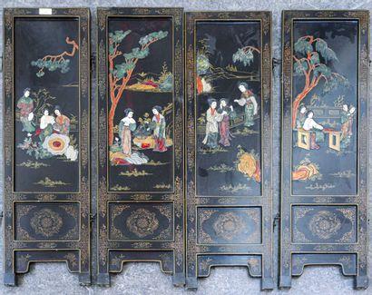 CHINE - Fin du XIXe siècle  Petit paravent...