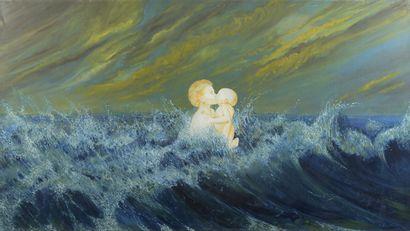 Serge REZVANI (né en 1928)  Le baiser, 1974...