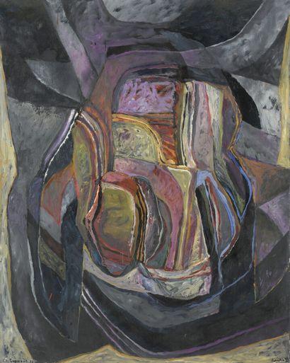 Serge REZANI (né en 1928)  Repentir VI B, 1962/1992  Huile sur toile, signée et...