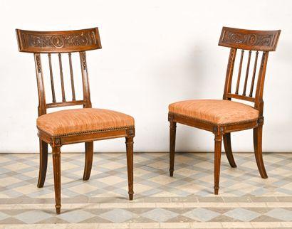 Paire de chaises en bois naturel