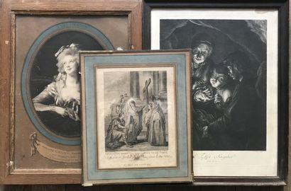 Lot de deux estampes et une reproduction...