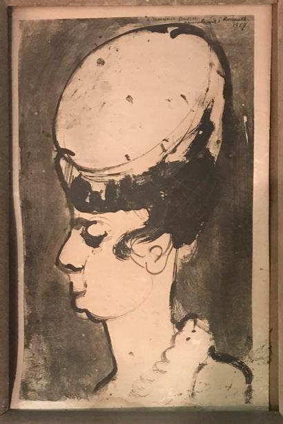 D'après Georges ROUAULT  Profil de femme...