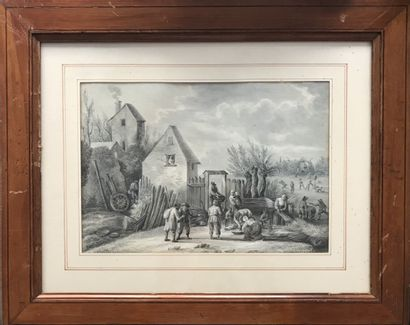 Ecole FLAMANDE, vers 1800  Paysage à la ferme...