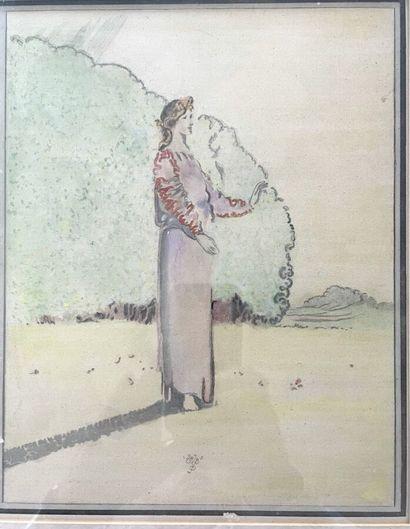 École SYMBOLISTE, début XXe siècle  Femme...