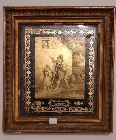 Un fixé sous verre, XIXe siècle.  Le mendiant...